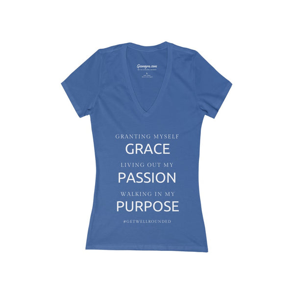 Women's Deep V-Neck Grace, Passion, Purpose Jersey Tee