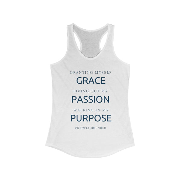 Women's Grace, Passion, Purpose Racerback Tank-White