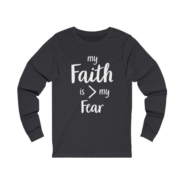 Unisex Faith Jersey Long Sleeve Tee-Dark
