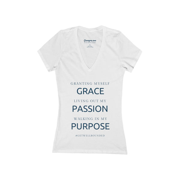 Women's Deep V-Neck Grace, Passion, Purpose Jersey Tee-White
