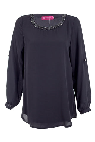 Elegent Beaded Neckline Blouse