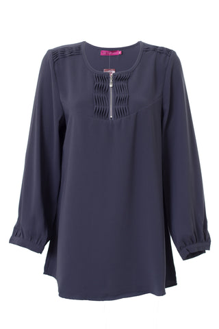 Wave Front Zip Blouse