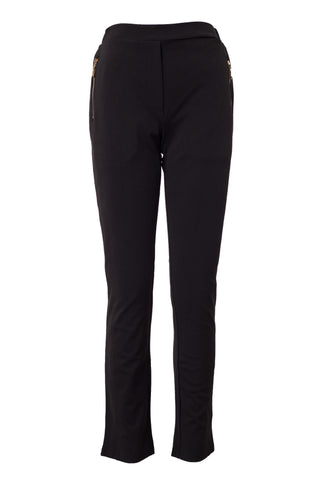 Plain Pants With Golden Zipper Pocket