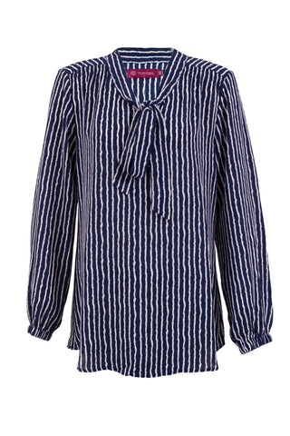 Tie Neck Stripe Blouse