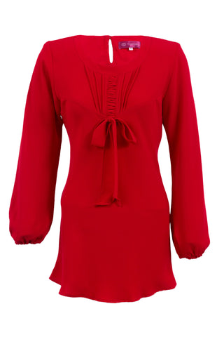 Red Blouse with Ribbon Knot