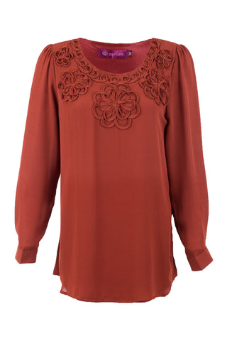 Embroidery Floral Plain Blouse