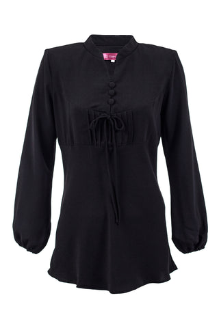 Self Tie Button Plain Blouse