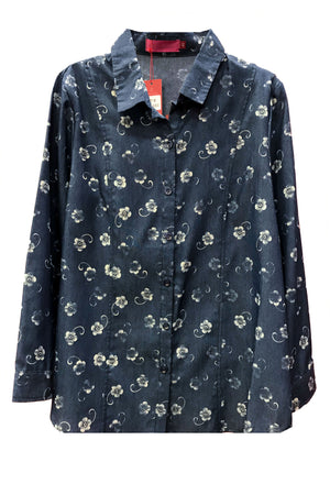 Denim Floral Blouse