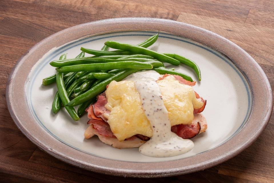 Chicken Cordon Bleu with Mustard Cream Sauce and Fresh Green Beans - FRZN