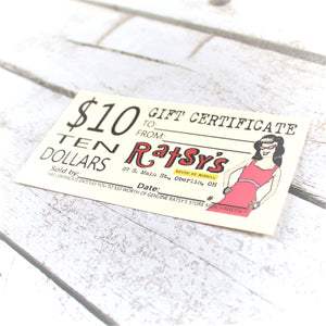Ratsy's Store Gift Certificate (for in store use only)