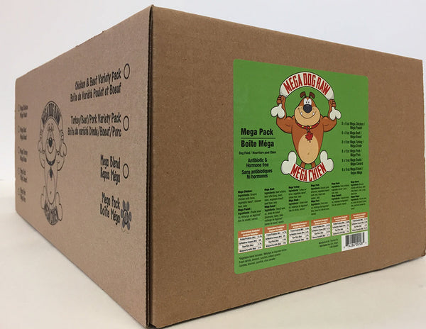 Mega Variety Pack Patties | Whole Chicken | Lean Ground Beef | Whole Chicken & Beef Offal Blend | 48 servings | 24 lb Box