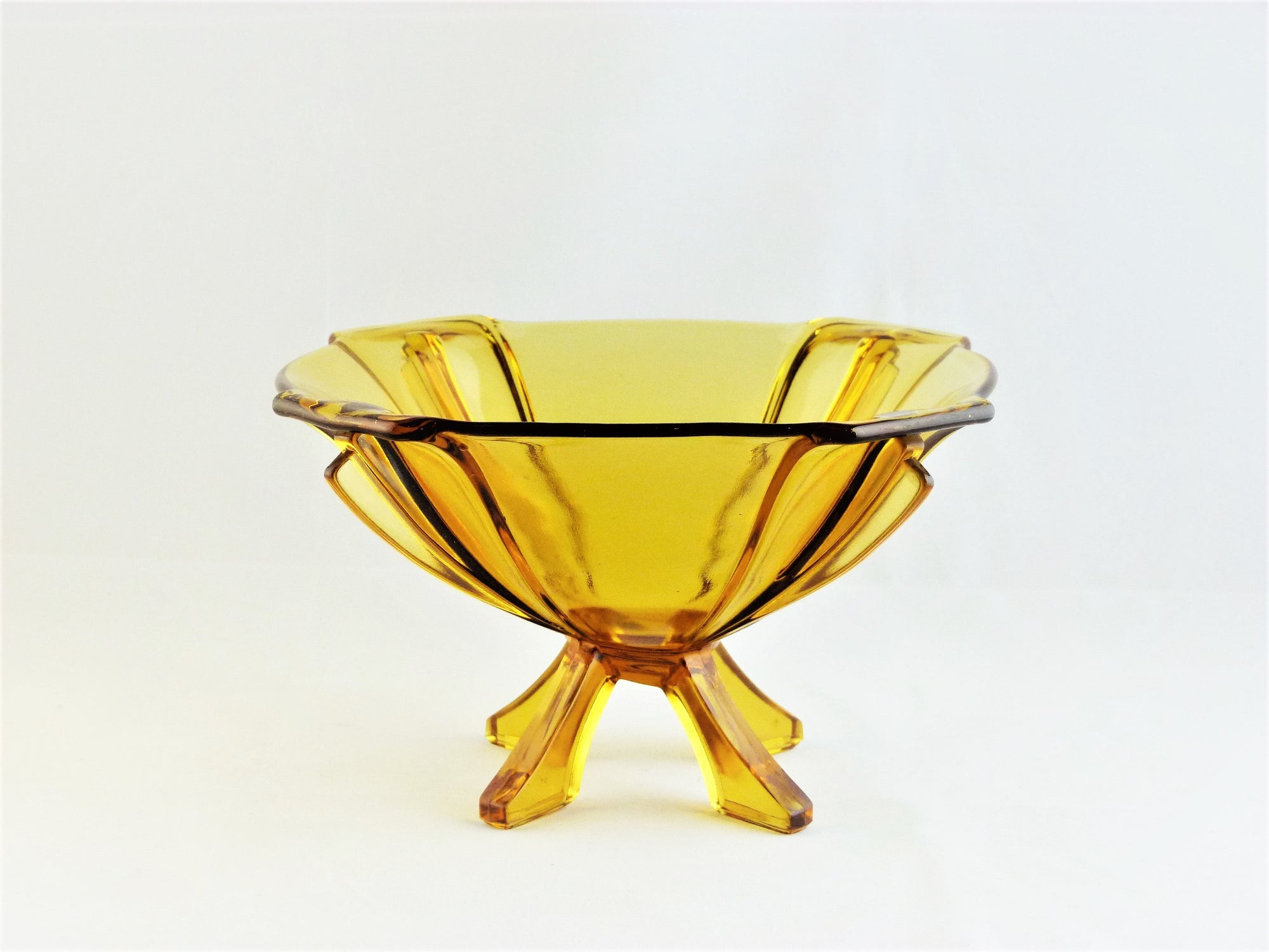Art Deco Amber Glass Bowl, Stolzle Clear Amber Glass Serving Bowl, Very Decorative