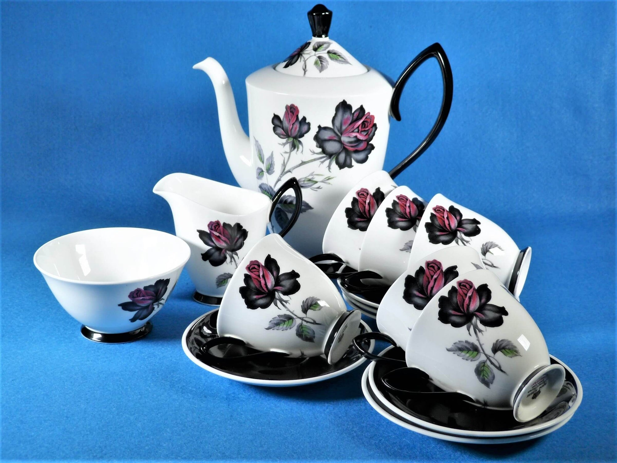 Royal Albert 'Masquerade' Coffee Set, Stunning Colour, Traditional Set
