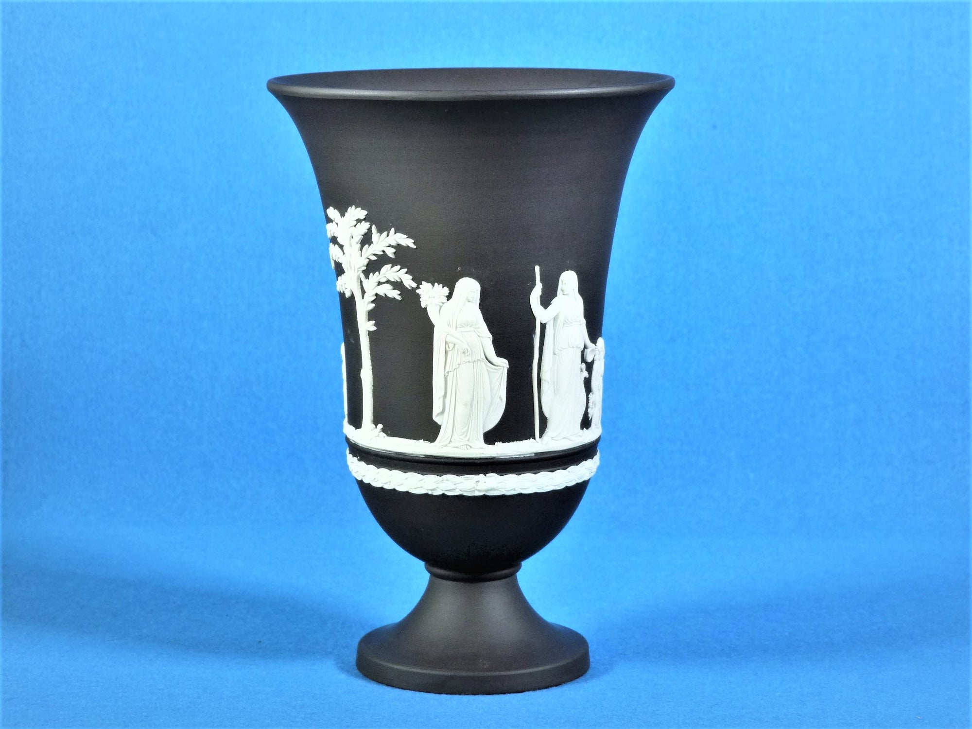 Black Jasperware Wedgwood Vase, Decorative Ornament, Stunning Vase