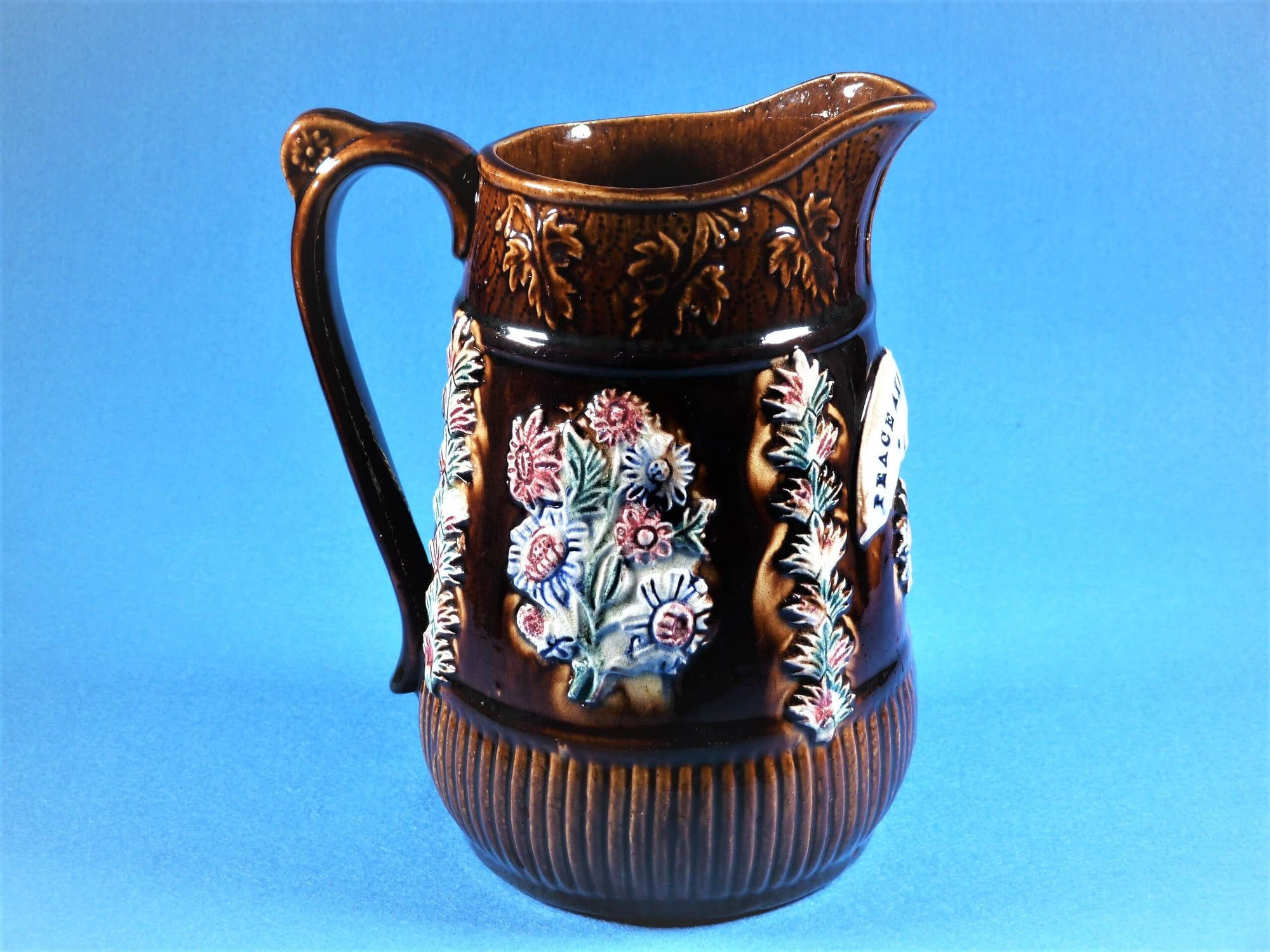 "Bargeware Jug, Measham Ware Pottery Jug, ""Peace and Plenty 1887"", Large Size"