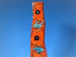 Anita Harris Art Pottery, Poppies Wavy Vase, Tall and Stately
