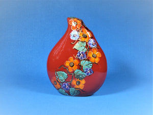 Red Vase, Anita Harris Art Pottery, Garland Teardrop Vase
