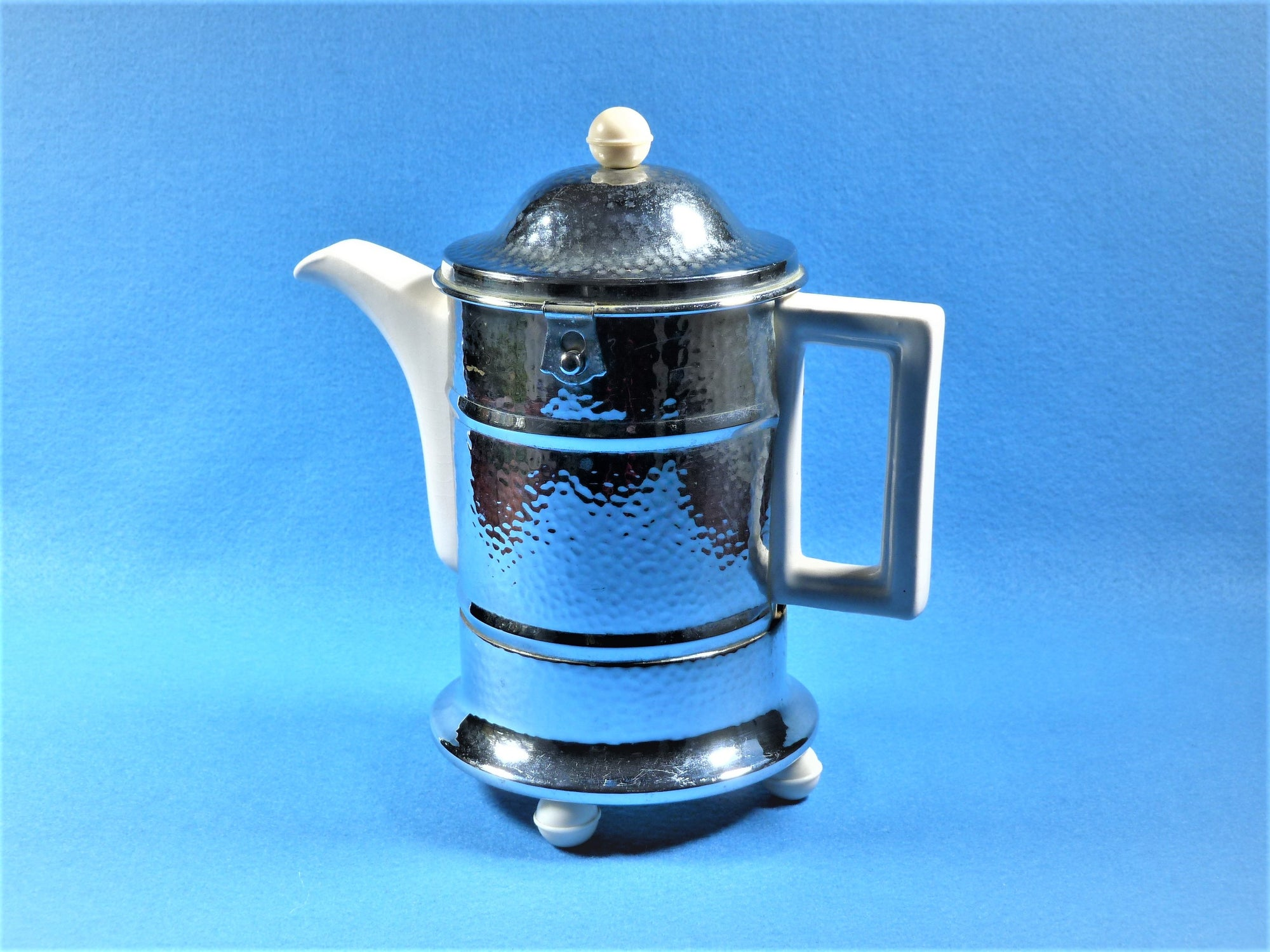 Vintage Insulated Coffee Pot, Heatmaster Coffee Pot, Chrome and China