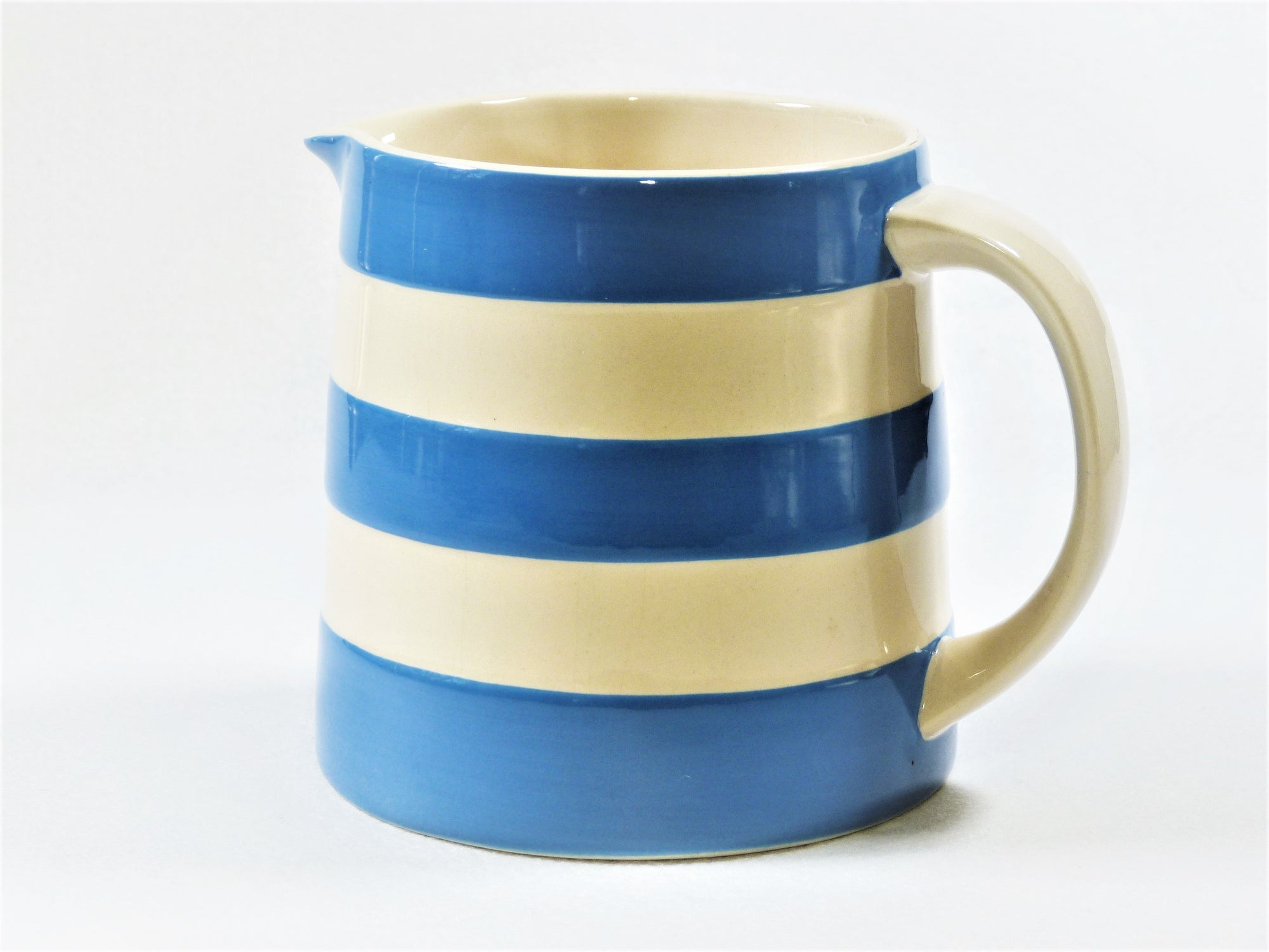 Cornishware Blue Dreadnought Jug, Iconic T G Green Blue and White Stripe Milk Jug
