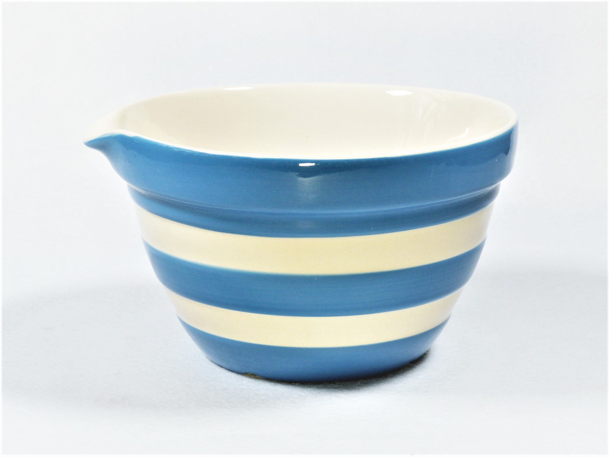 Cornishware Blue and White Striped Bowl with Pouring Lip, T G Green Mixing Bowl