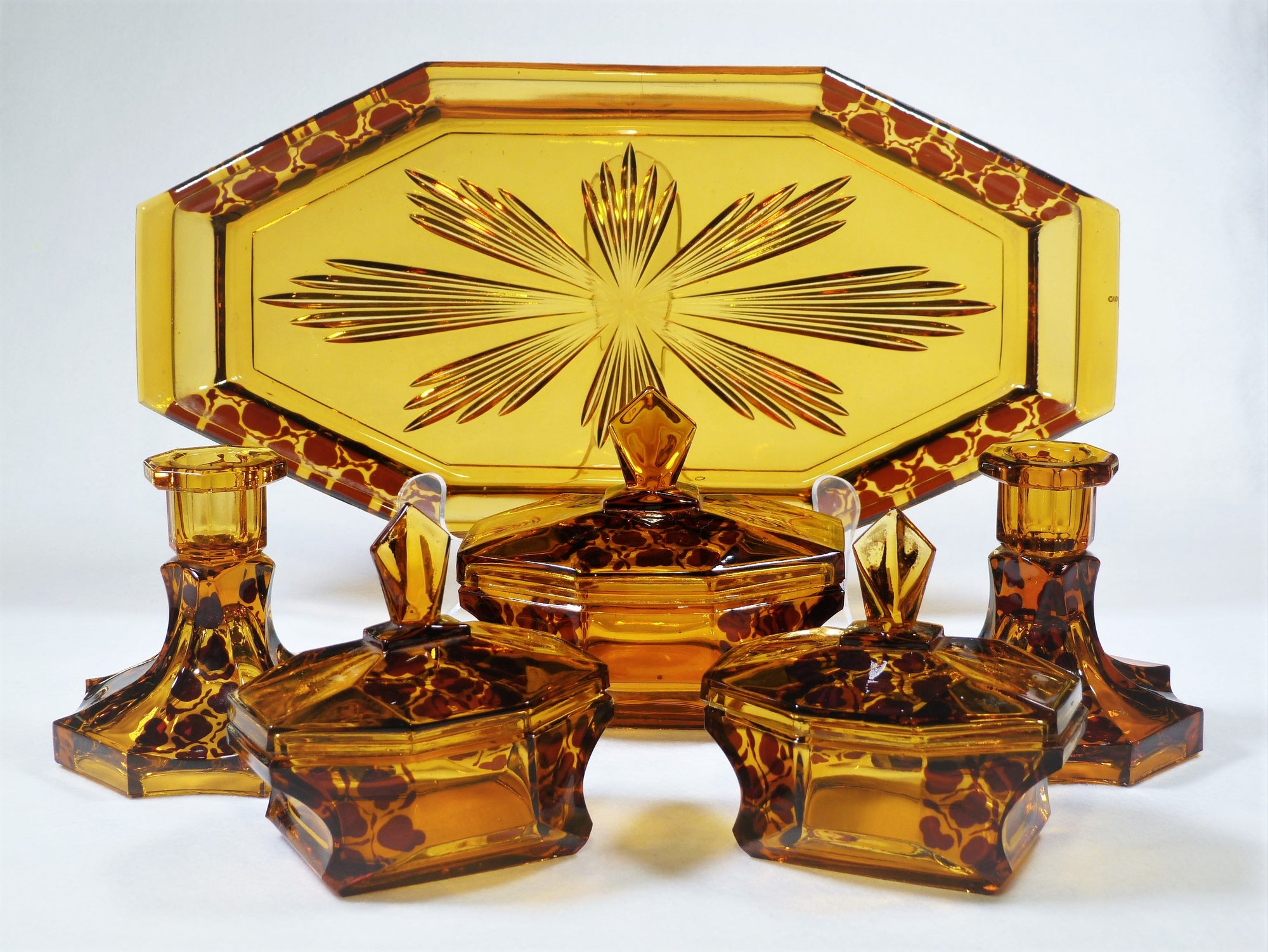 Amber Glass Dressing Table Set, 1930's, Art Deco Bedroom Set