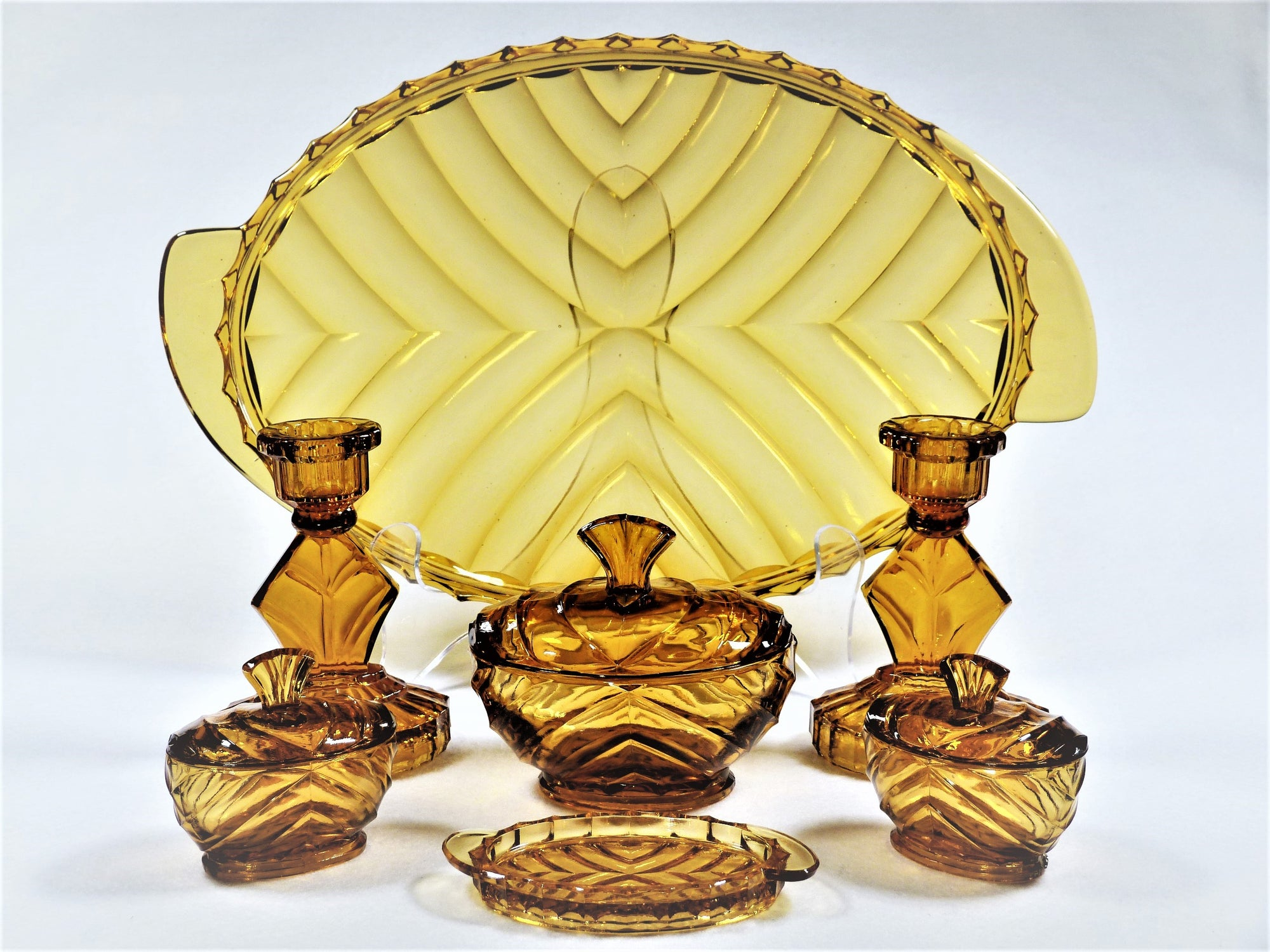 Amber Glass Dressing Table Set, 1940's, Art Deco Vanity Set
