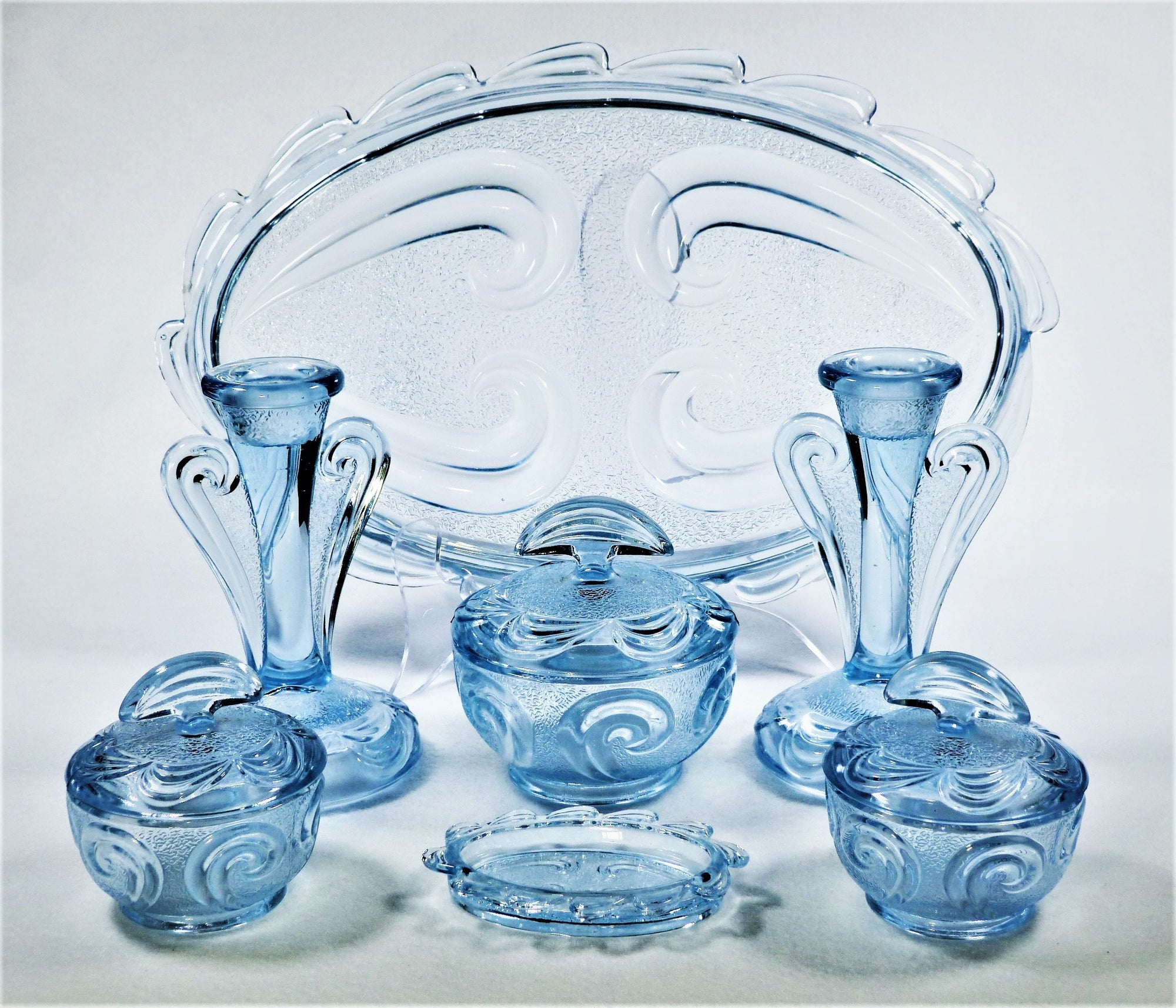 "Art Deco Bagley Blue Glass  Dressing Table Set, ""Rutland"" Vanity Set"