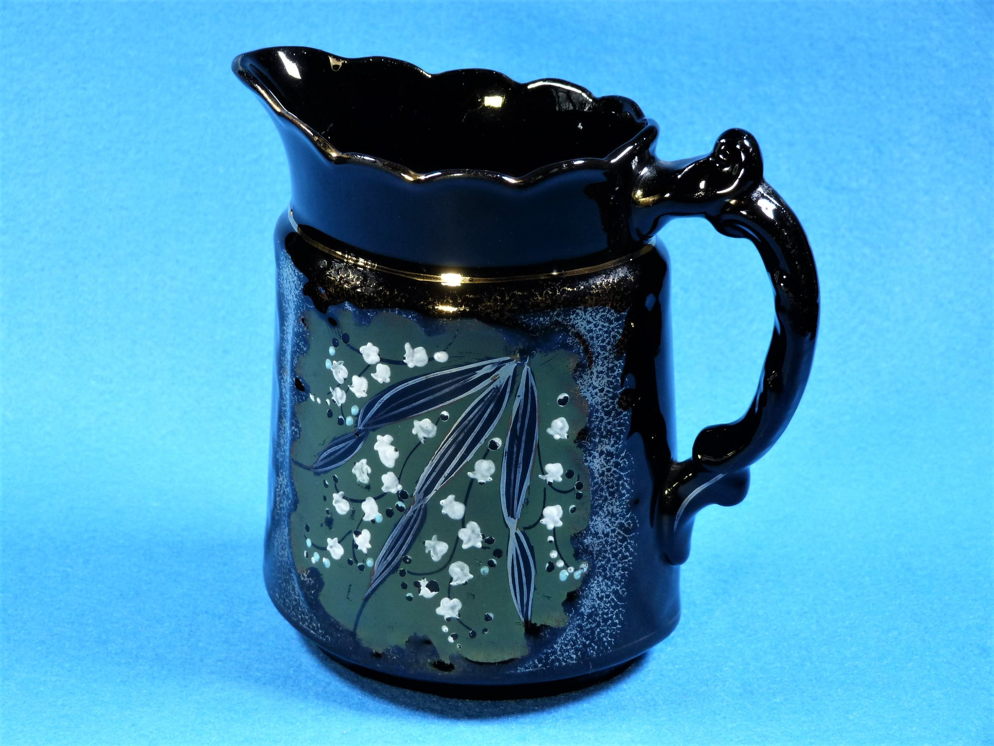 Victorian Jackfield Jug, Black Glaze Pottery, Antique Black Jug, 1800's