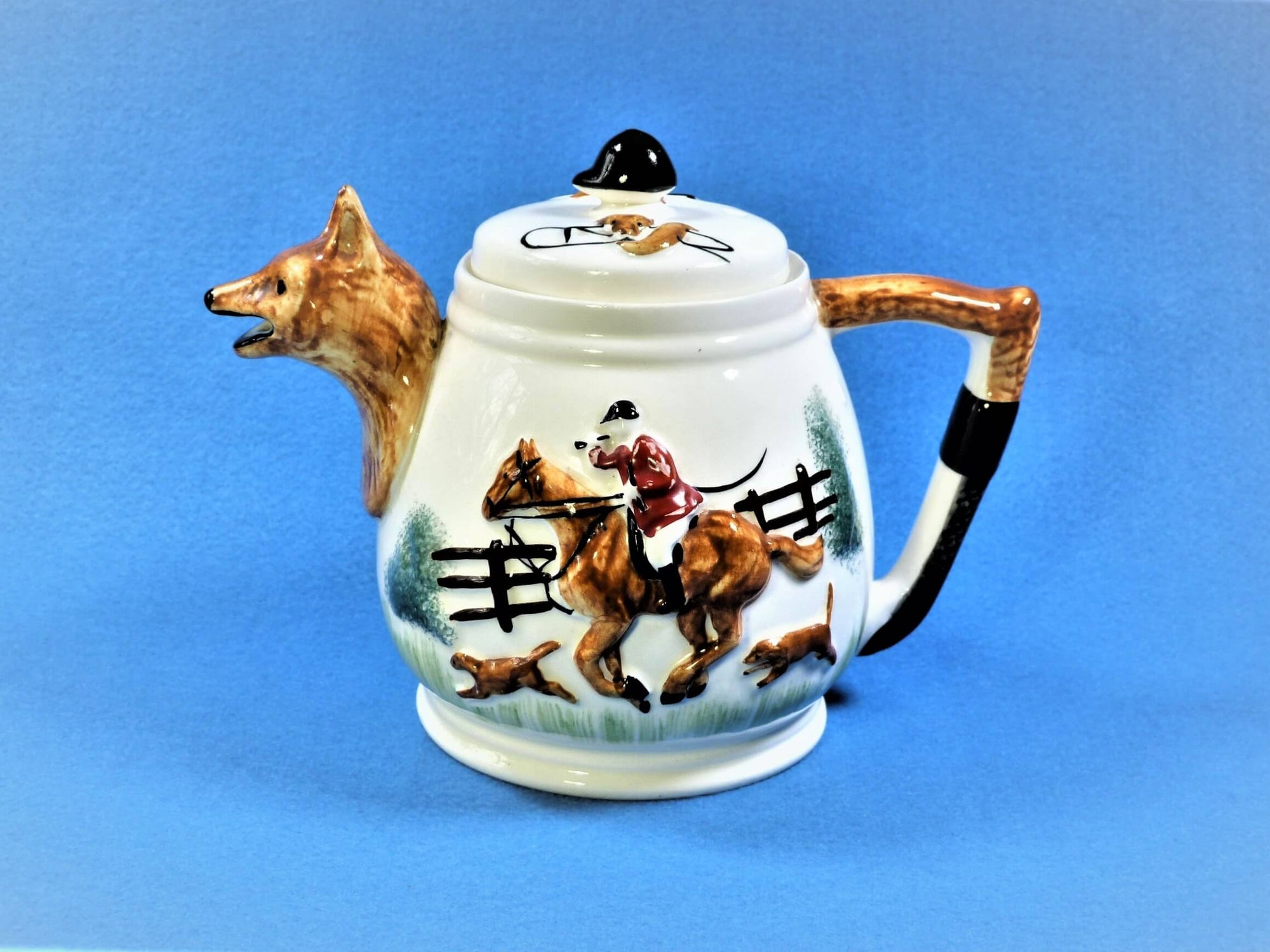 Fox and Hounds Hunting Scene Teapot, Portland Pottery