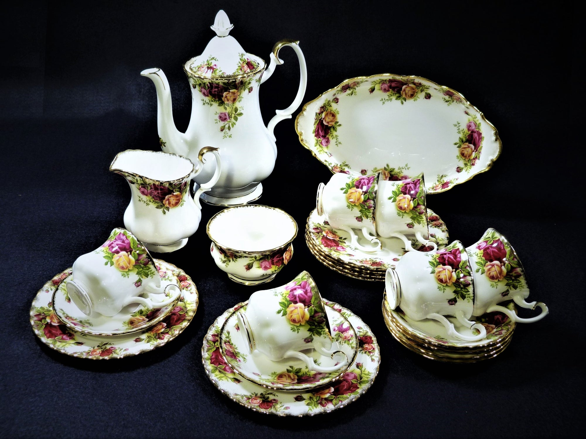 Vintage Royal Albert Old Country Roses Coffee Set, Made in England
