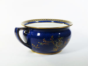 Carlton Ware Bleu Royale Chamber Pot, 1920's, Basket of Flowers Pattern No 2184, Wiltshaw & Robinson