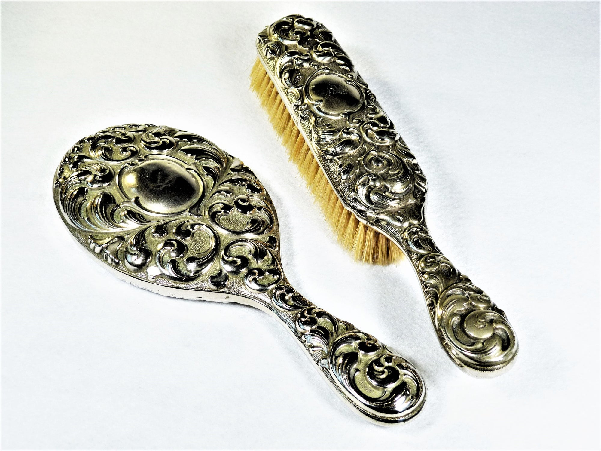 Silver Plate Brush and Mirror, Vintage Dressing Table Set, Ornate Vanity Set
