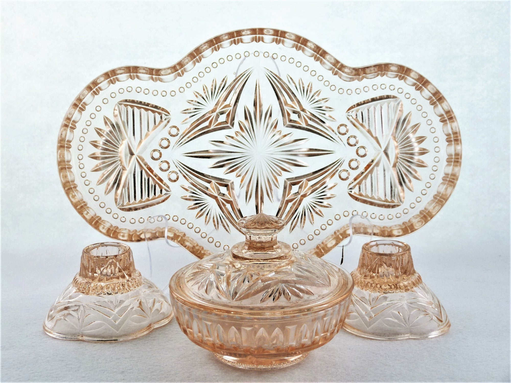 Pink Pressed Glass Dressing Table Set, Art Deco Vanity Set