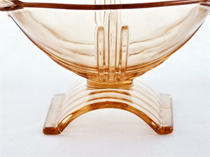 Stolzle Pink Glass Bowl, Art Deco 1930's Czech Bowl, Superb Footed Base