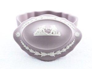 Lilac Jasperware Wedgwood Box, Oval Shaped Trinket Box