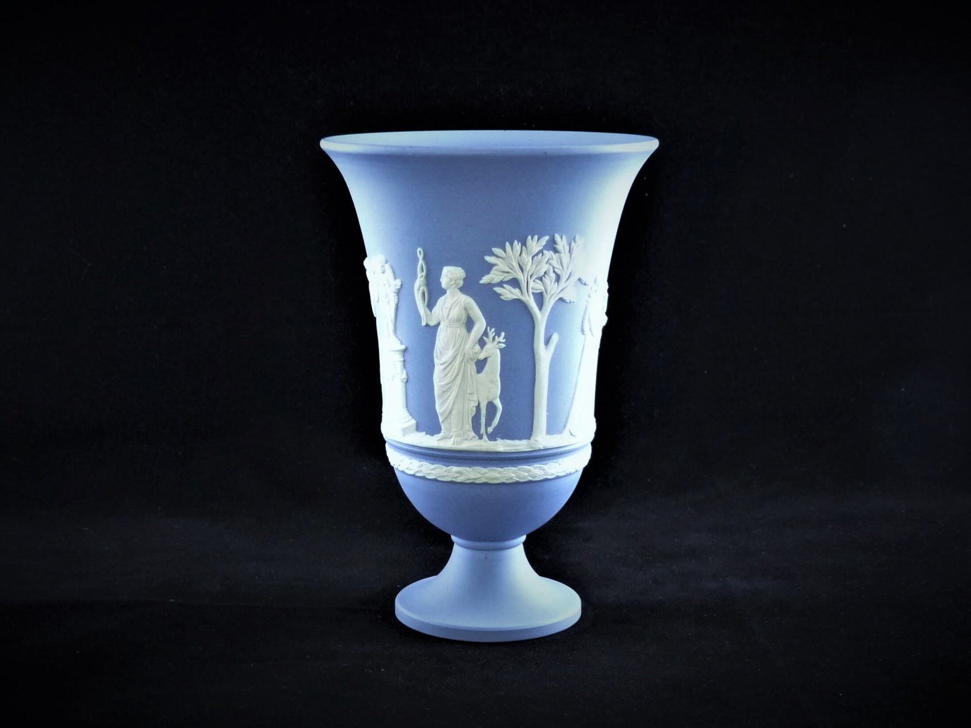 Blue Wedgwood Jasperware Vase, Decorative Ornament, Attractive Flower Vase