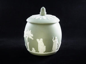 Wedgwood Jasperware Tobacco Jar, Green, 1956, Very Attractive