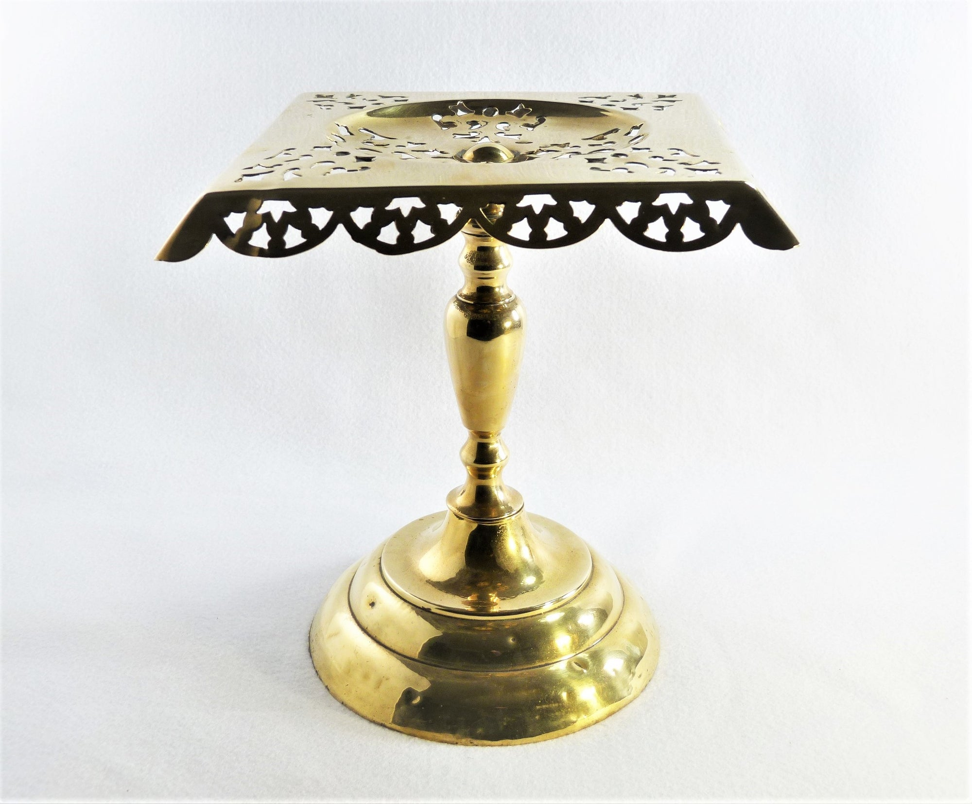 Victorian Brass Kettle Stand, Square English Hearth Trivet
