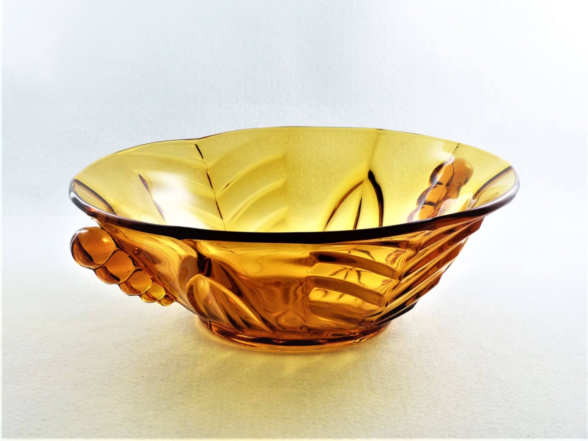 Art Deco Amber Glass Bowl, Clear Amber Glass Serving Bowl, 1940's Pressed Glass