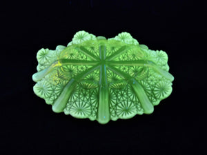 "Uranium Glass Bowl, Davidson Primrose Pearline Glass, ""Lady Chippendale"""