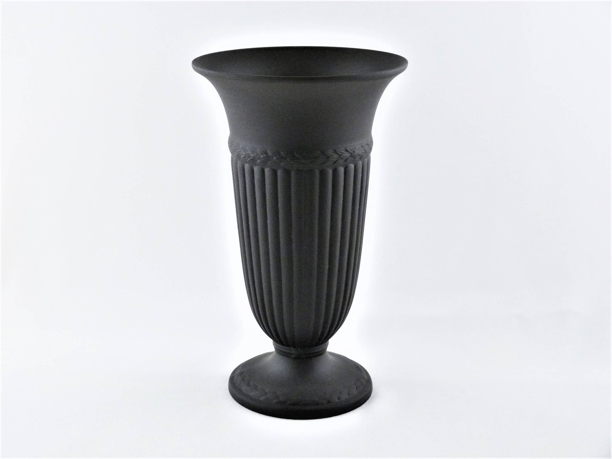 "Black ""Edme"" Large Wedgwood Vase, 20th C, Black Basalt, Very Attractive"