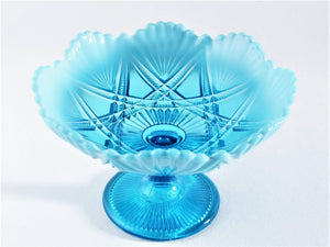 "Davidson Blue Pearline Glass Bowl , ""Victoria & Albert"", Victorian Glass"