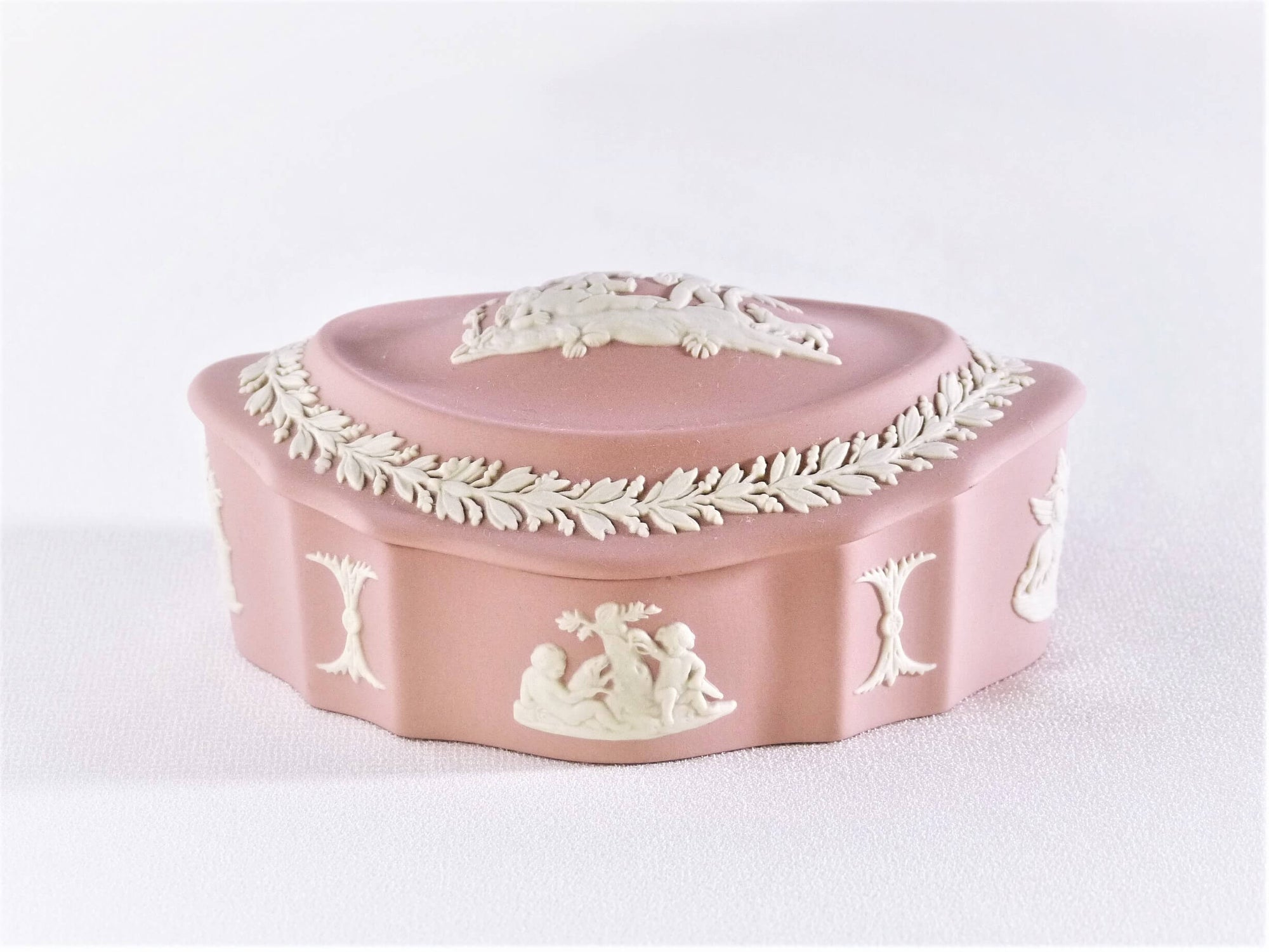 Pink Jasperware Wedgwood Box, Oval Shaped Trinket Box