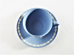Wedgwood Jasperware Blue Cup and Saucer, Charles and Diana Commemorative Duo