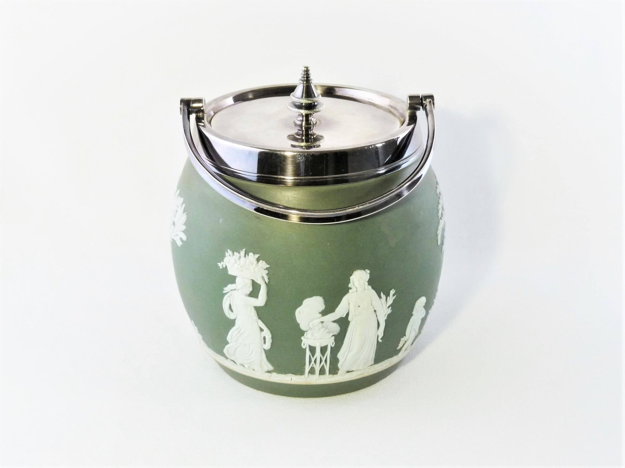Wedgwood Jasperware Biscuit Barrel, Green Colour, 1891-1908