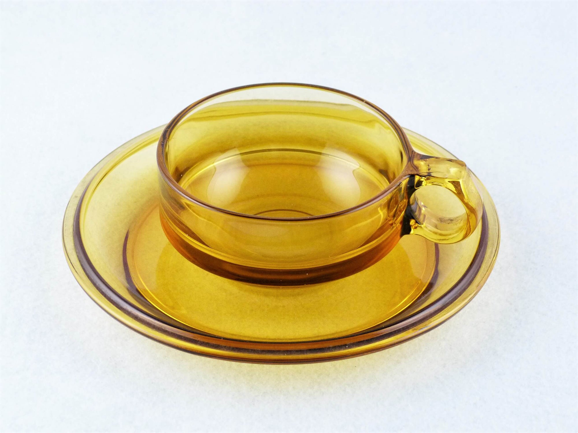 Amber Glass Cup and Saucer, Attractive Vintage Duo