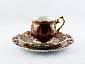 Ohashi China, Nagoya, 1932, Burgundy Red Cup, Saucer and Plate
