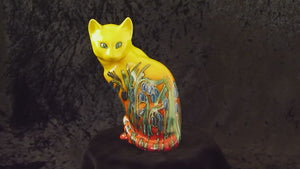 Anita Harris Sitting Cat, Hand Painted Art Pottery, Bluebell Design