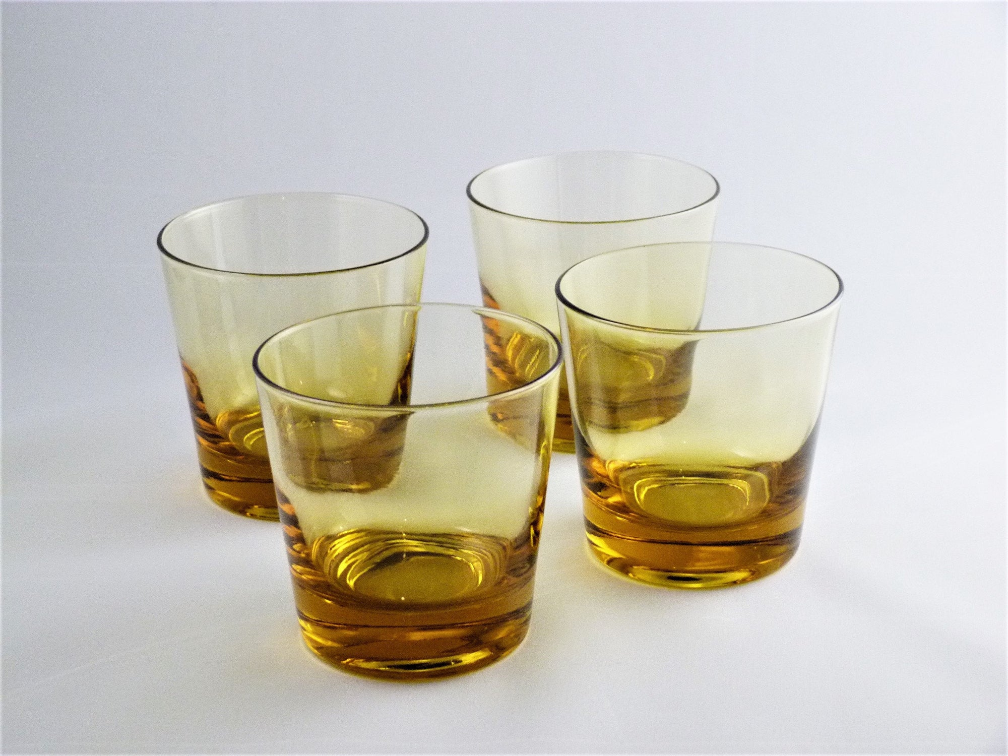 Amber Glass Drinking Glasses, Vintage Short Tumblers
