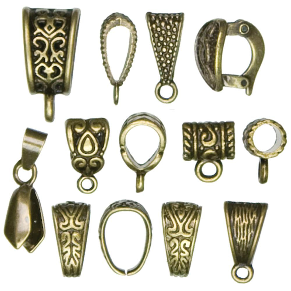 Jewelry Basics Metal Findings - Mixed Bail Pack - 13 Pieces